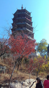 Pagoda located inside the Red Leaves Valley in Jinan